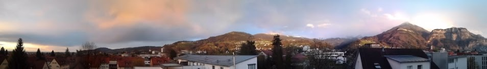 Panorama of rainy weather and the mountain view from my balcony in Dornbirn