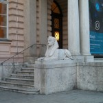 A sphinx outside the museum in Innsbruck. If you look closely somebody seems to have graffitied some makeup on to it.