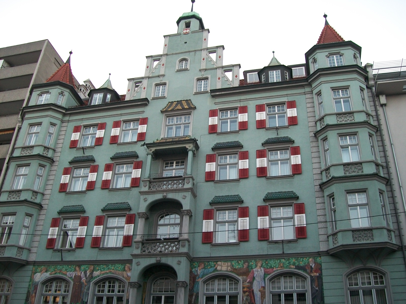 Window shutters in the Austrian national colours.