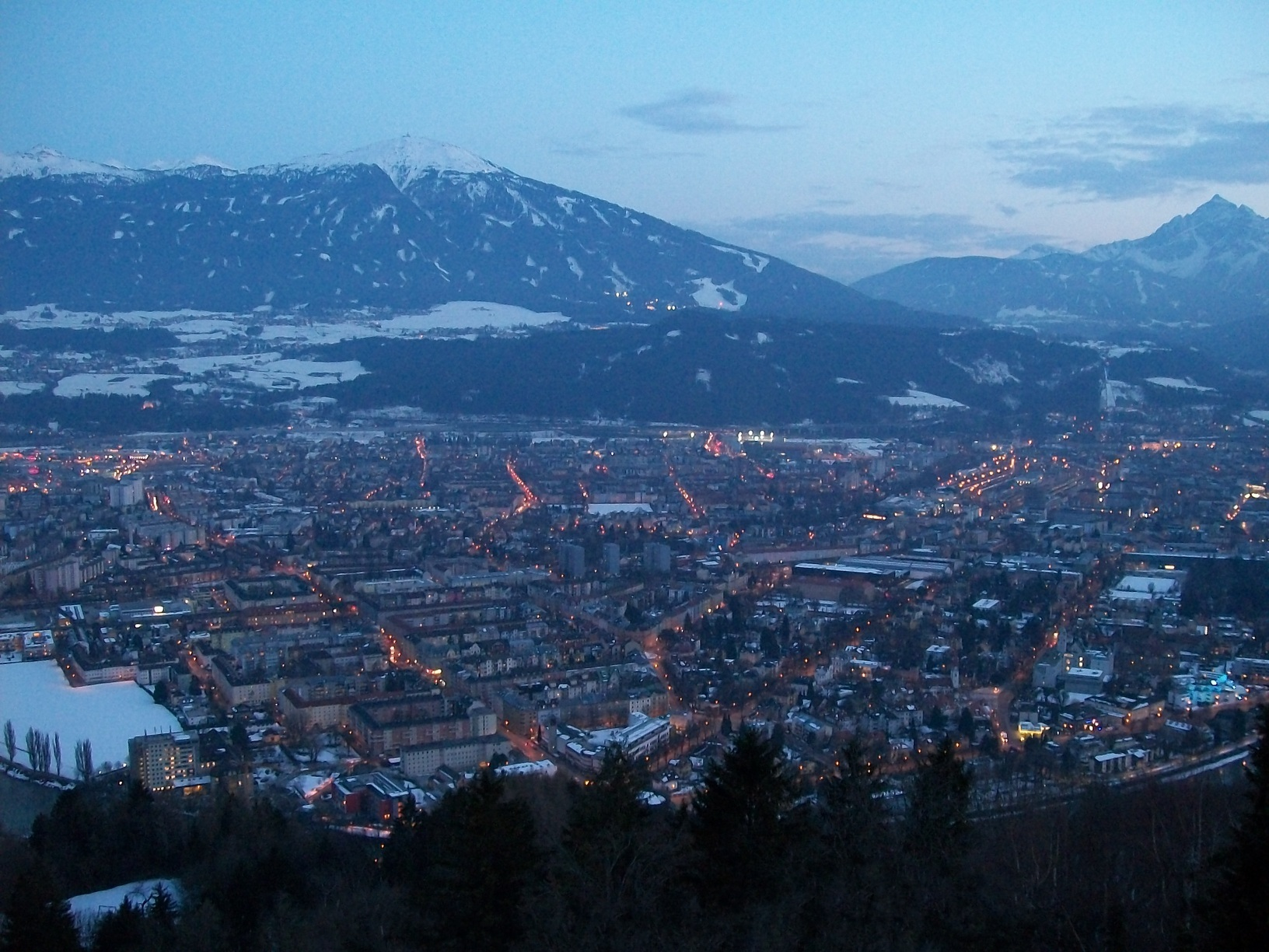 The mountains surrounding Innsbruck with the city in the foreground.