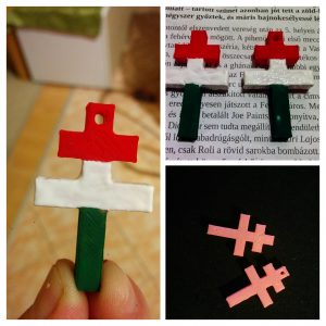"photo collage of 3D printed ""Kettős Kereszt"" painted in the colours of the Hungarian flag"
