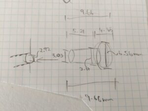 sketch with measurements for wooden knobs