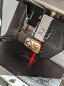 printed plastic knob on the print bed