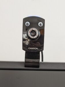 photo of webcam with googly eyes