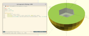 Screenshot of bolt cap design in OpenSCAD